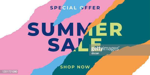 summer sale banner with ripped papers. - paper stock illustrations
