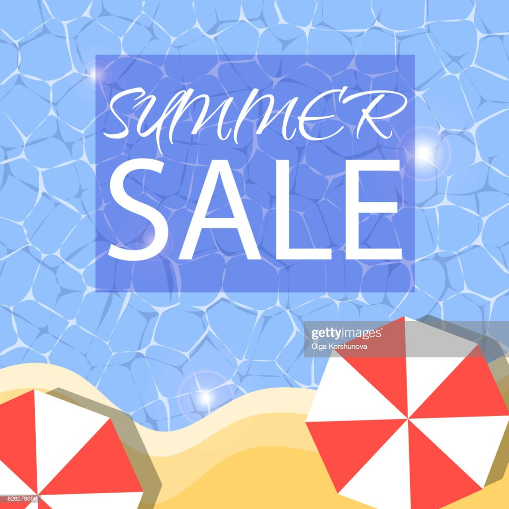Summer Sale Banner With Sun Umbrellas On Background Of Blue Water Waves Vector Illustration Template And Banners Wallpaper Flyers Invitation Posters