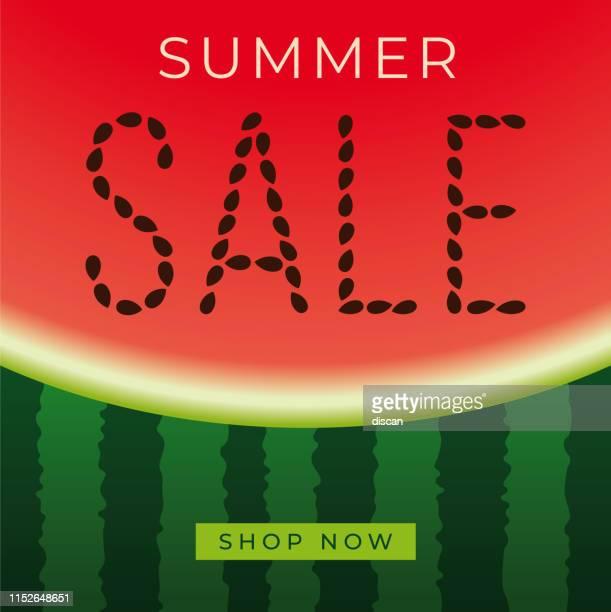 illustrations, cliparts, dessins animés et icônes de bannière de vente d'été avec pastèque. design pour la publicité, bannières, dépliants et flyers. - pastèque