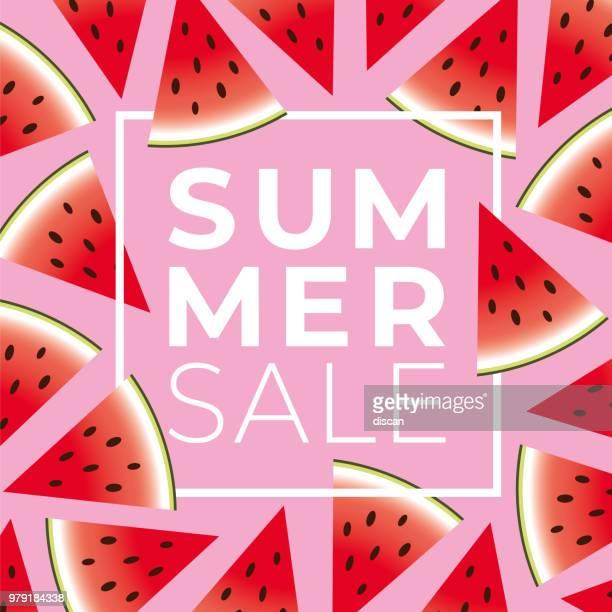 illustrations, cliparts, dessins animés et icônes de bannière de vente de l'été avec la pastèque - pastèque