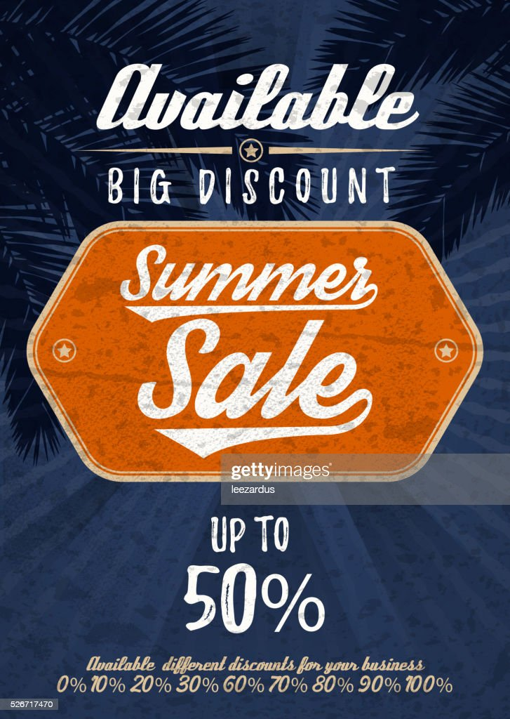 Summer Sale big discount. Vector vintage grunge background.