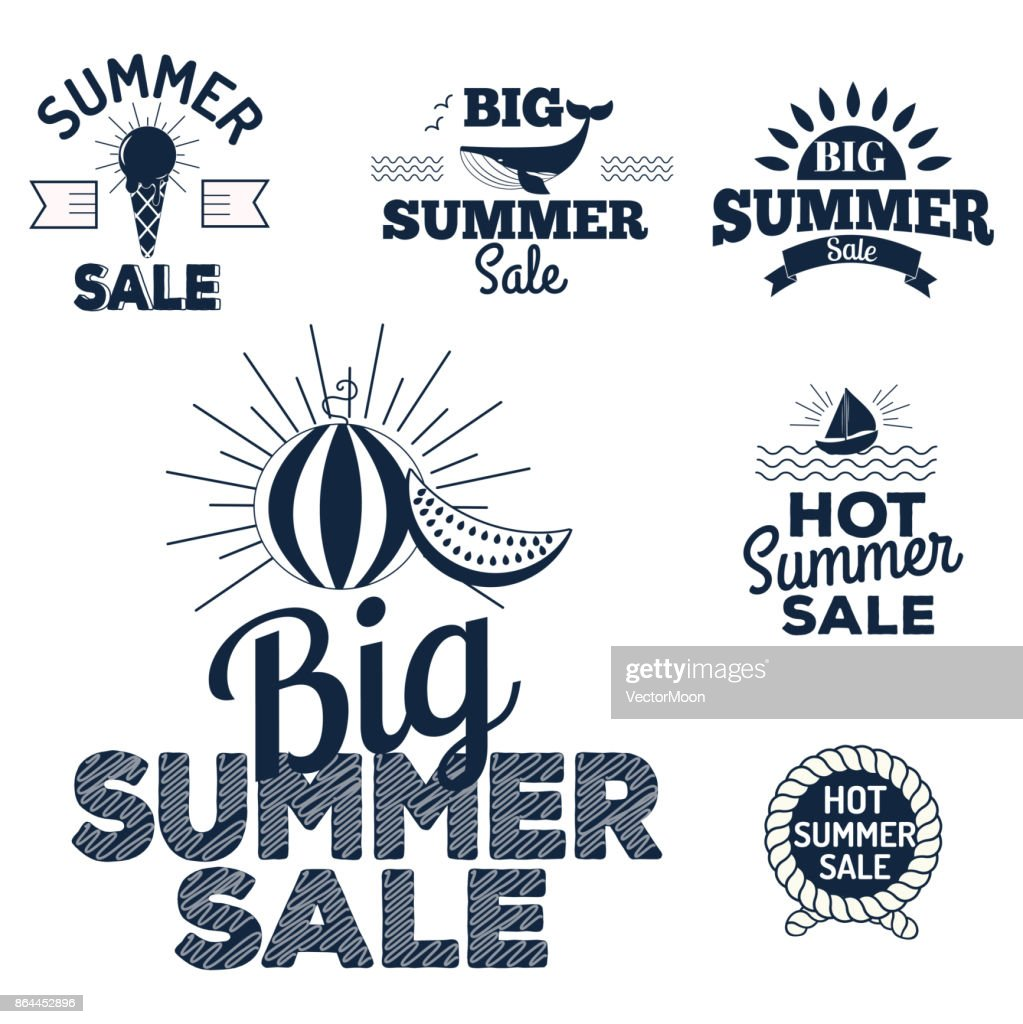 Summer sale clearance vector badges some shopping hand drawn advertising labels illustration