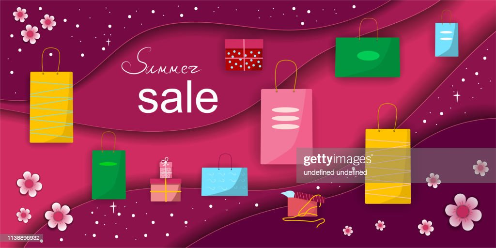 summer sale concept paper vector desing with gifts , shopping package Vektor illustration
