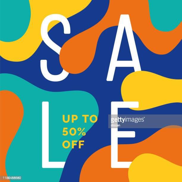 流体効果を持つ広告、バナー、チラシやチラシのための夏の販売のデザイン。 - 広告点のイラスト素材/クリップアート素材/マンガ素材/アイコン素材