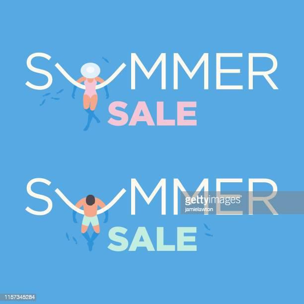 illustrations, cliparts, dessins animés et icônes de conception de vente d'été avec des flotteurs de natation de mousse de nouillede de piscine - matelas pneumatique