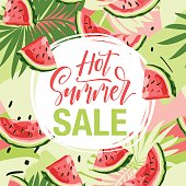 Summer sale - hand drawn lettering phrase on background with watermelon. Advertising template for banner, shop and store poster design and season flyers.