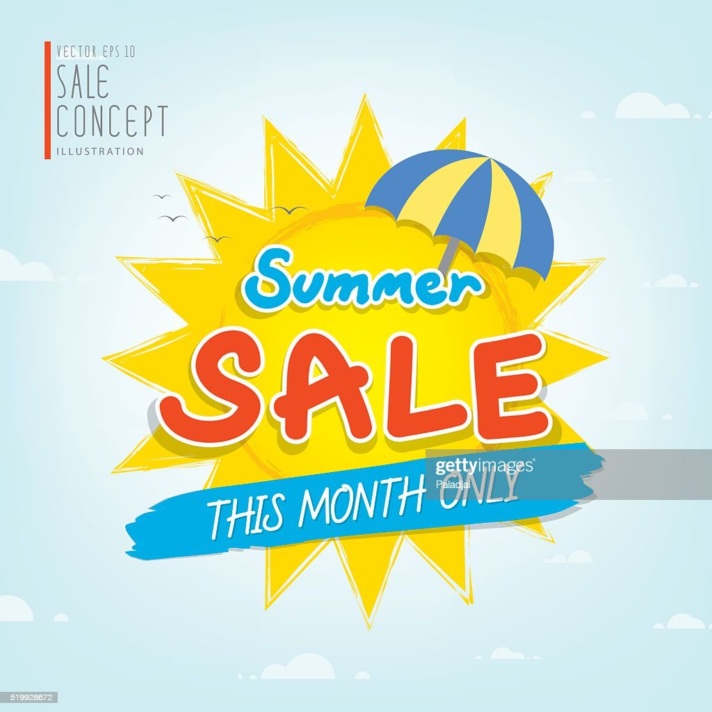 Summer Sale heading design for banner or poster Promotions.