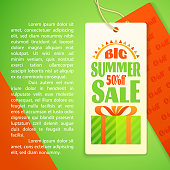 Summer Sale letters Design Template, sun, gift box