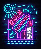 Summer sale neon sign. Design template typography poster Summer Sales, Ice Cream in Neon Style, Fashion, Summer Discount Neon Style Brochure, Light Banner, Bright Advertising. Vector illustration