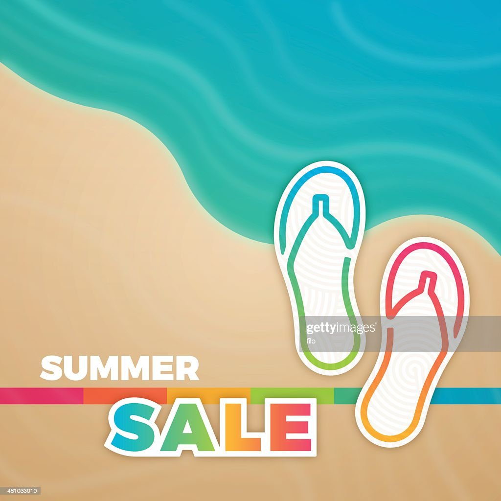 a06c79156 Summer Sale Sandals Background   stock vector