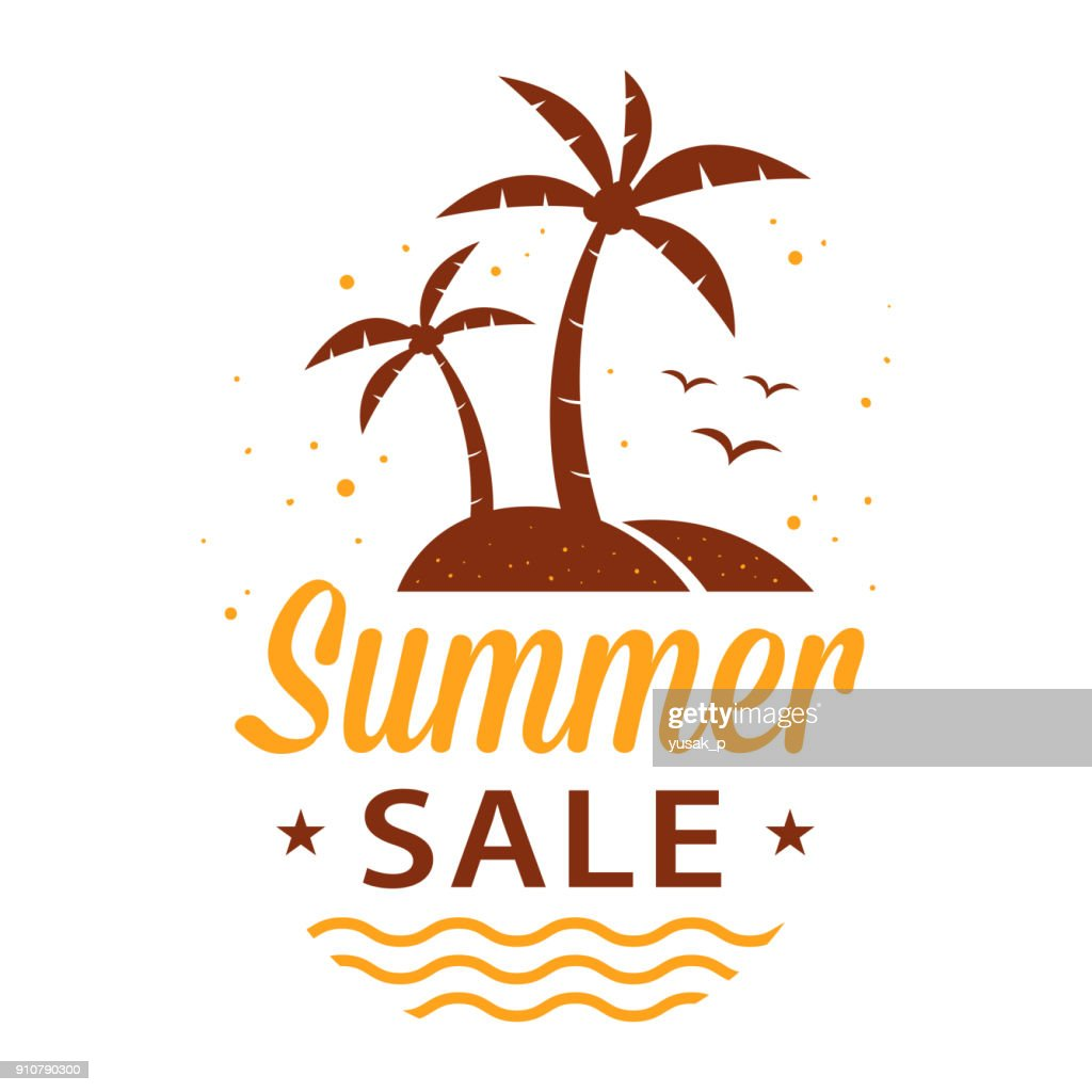 summer sale sign with palm trees on an island vector art getty images