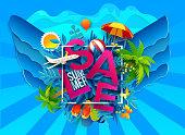 Summer sale symbol on blue