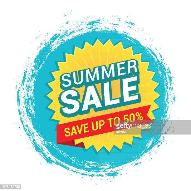 illustrazioni stock, clip art, cartoni animati e icone di tendenza di summer sale tag - saldi