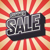 Summer sale, Text design, Poster of the season, Vector illustrat