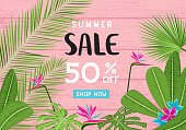 Summer sale tropical banners