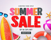Summer sale vector banner design template with red sale text and colorful beach elements