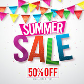 Summer sale vector banner design with colorful streamers hanging