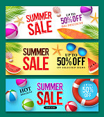 Summer sale vector banner set with 50% off discount text
