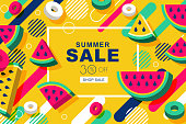 Summer sale vector banners with 3d style watermelon and motion geometric shapes. Layout for discount labels, flyers.