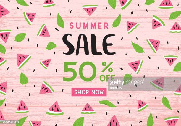 summer sale watermelon banner - mint leaf culinary stock illustrations, clip art, cartoons, & icons