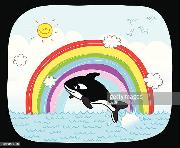 summer sea and whale jumping front of rainbow cartoon illustration