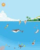 Summer sea bathing - undersea