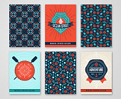 Summer Sea Cards with Patterns of Marine Symbols and Labels.