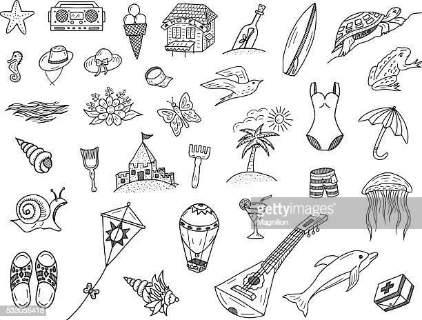 illustrations, cliparts, dessins animés et icônes de été mer et crayonnages - planche de surf