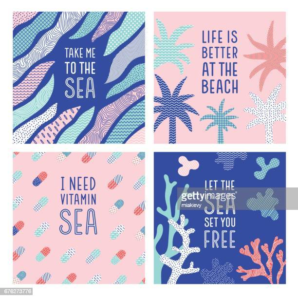 summer sea quotes - sayings stock illustrations