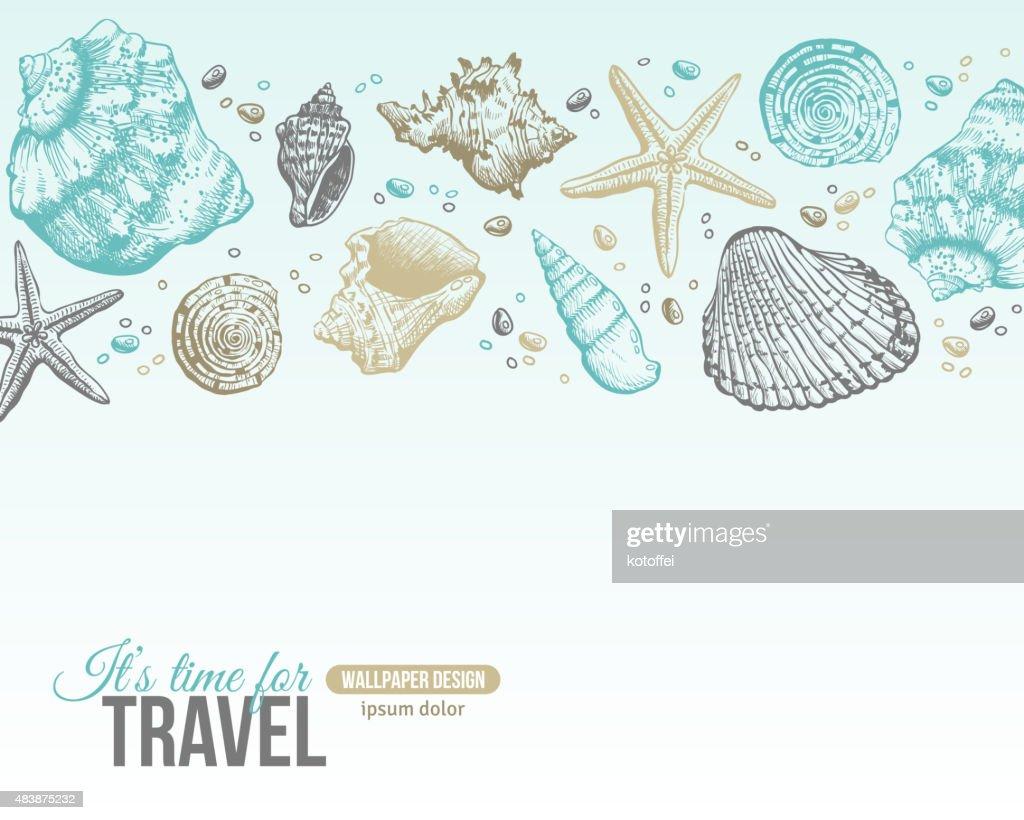 Summer Sea Shells Postcard Design.