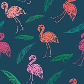 Summer seamles pattern with bright flamingo birds and palm leaves.
