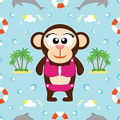 Summer seamless background with monkey