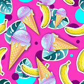 Summer seamless bright pattern with ice cream and tropic leaves. Zine Culture style summer background