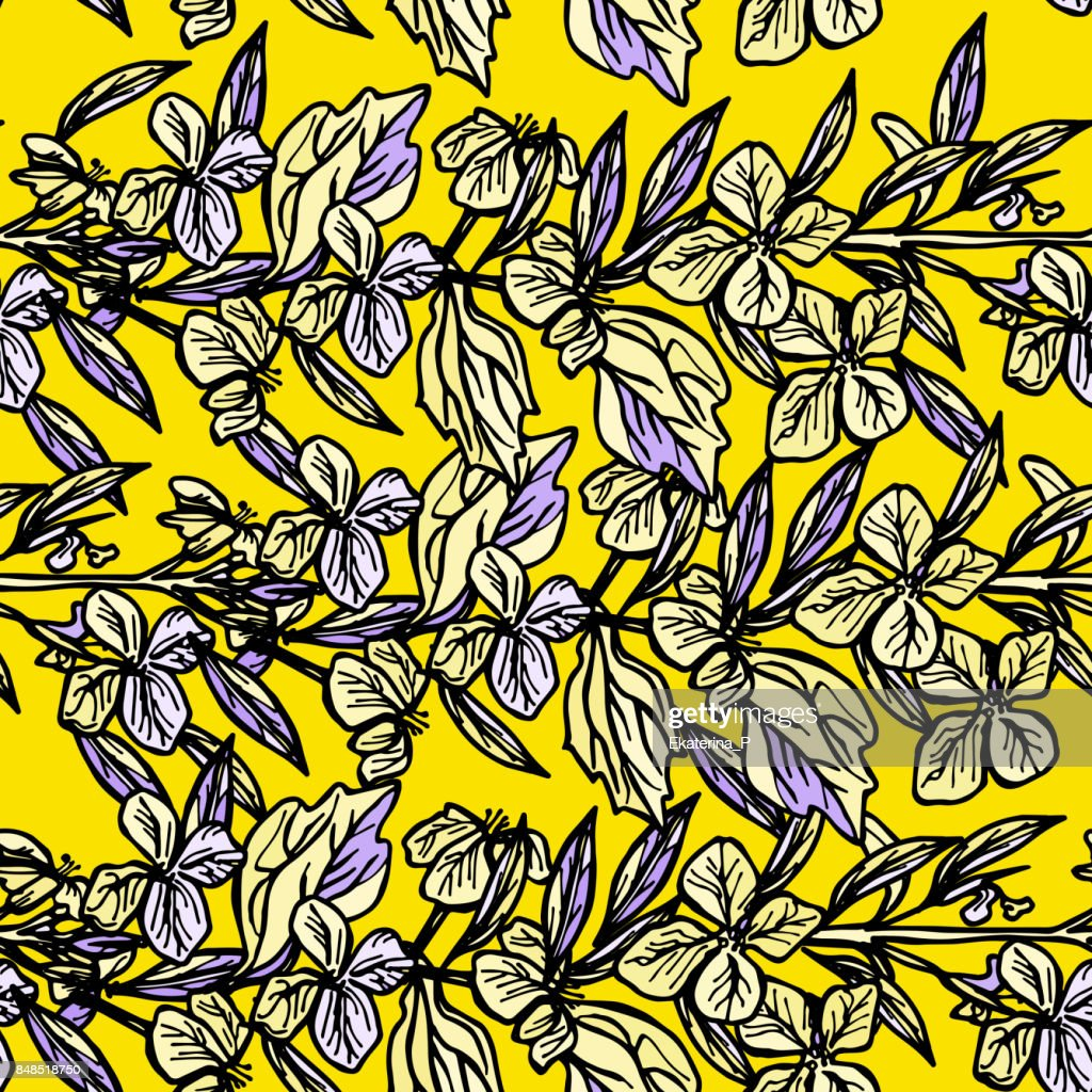 Summer Seamless Pattern Leaves And Flowers Sketch Yellow And Black