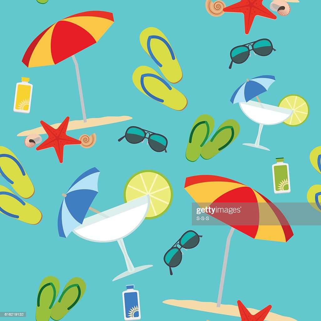 Summer seamless pattern on blue background : Vectorkunst