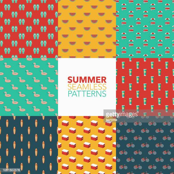 summer seamless pattern set - summer stock illustrations