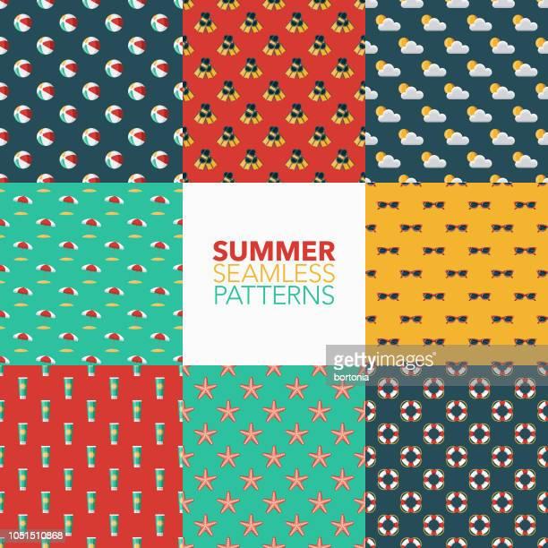 stockillustraties, clipart, cartoons en iconen met zomer naadloze patroon set - strandparasol