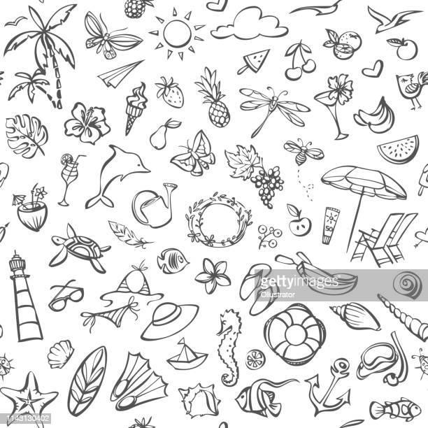 ilustrações de stock, clip art, desenhos animados e ícones de summer seamless pattern - concha do mar