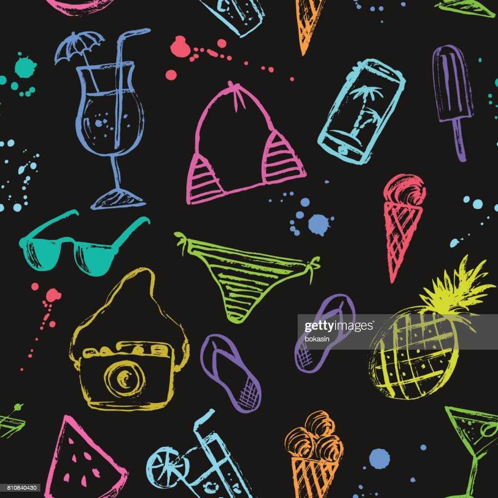 Summer seamless pattern  with bright drawings on black background