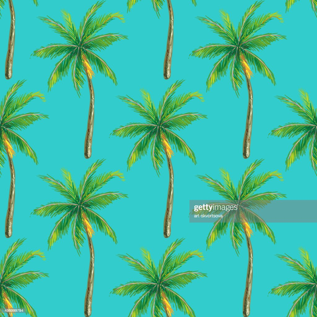 Summer seamless pattern with palm tree