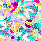 Summer seamless pattern with unicorn and ice cream. Zine Culture style summer background