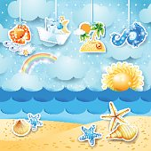 Summer seascape with hanging elements
