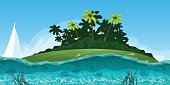 Summer seascape with island palms and ocean vector illustration