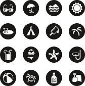 Summer Season Icons - Black Circle Series
