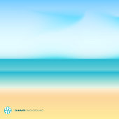 Summer season landscape blurred background with beach, sea. sky and cloud.