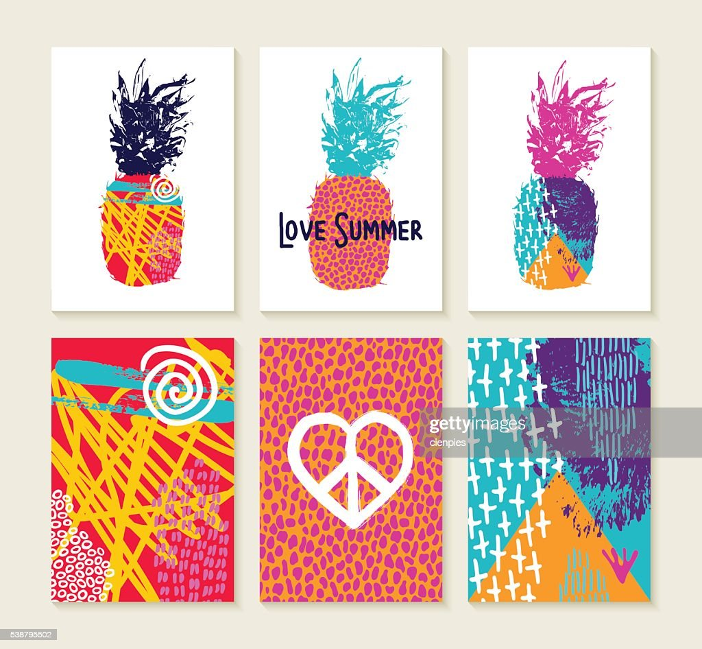 Summer set of colorful happy design with pineapple