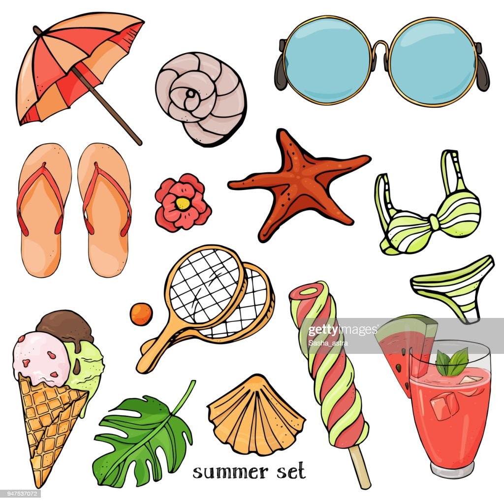 Summer set on the theme of beach holidays and summer meals. Colorful beach items in sketch style.