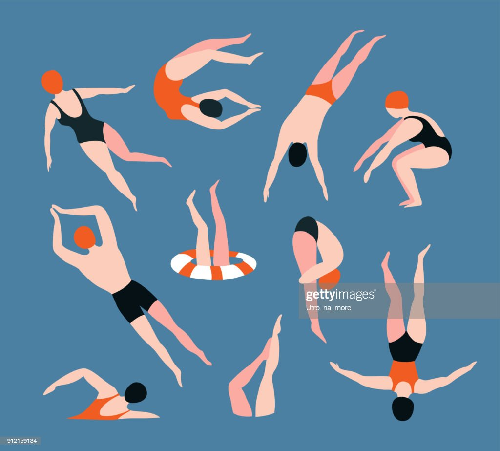 Summer  set with swimming people isolated on the blue background. Summertime vector illustration with swimmers drawing in flat style.