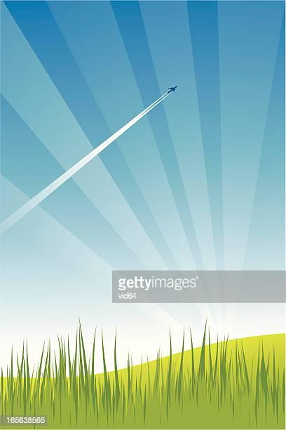 60点の飛行機雲のイラスト素材クリップアート素材マンガ素材