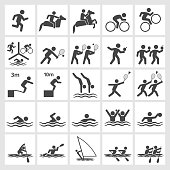 Summer Sports Black & White royalty free vector icon set